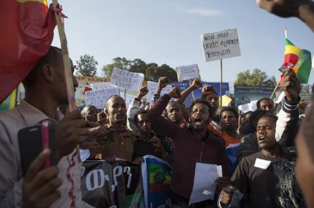 Des manifestants à Addis Abeba mercredi 22 avril. Photo AFP