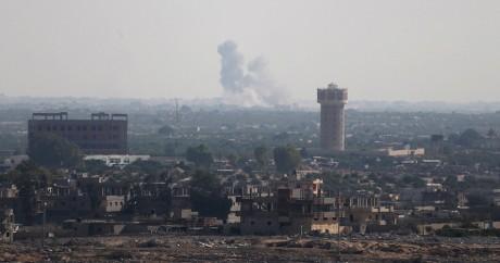Une image de la ville de Sheikh Zuwaid lors de l'assaut du groupe Wilayat mercredi 1er juillet. REUTERS/Ibraheem Abu Mustafa