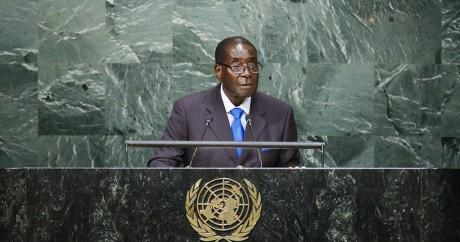 Robert Mugabe lors de son discours à l'ONU, lundi 28 septembre 2015. Crédit photo: REUTERS/Eduardo Munoz