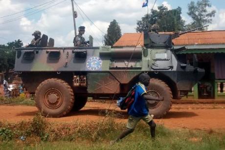 Des soldats français de la force Sangaris à Bangui, le 12 juillet 2014  AFP/Archives Pacome Pabandji