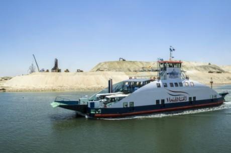 La seconde voie du canal de Suez dont l'inauguration est prévue le 6 août. Photo AFP/Khaled Desouki