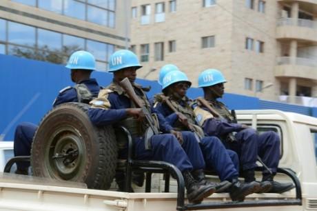 Les Casques bleus de la Minusca patrouillant à Bangui le 3 octobre 2014 AFP/Archives Pacome Pabandji