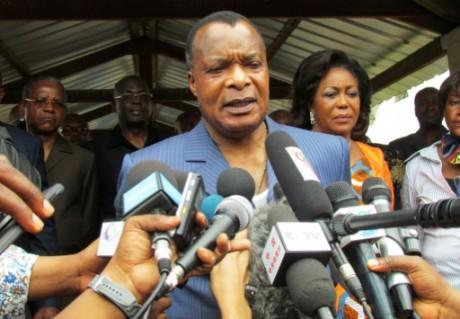 Le président congolais Denis Sassou Nguessou le 25 octobre 2015 à Brazzaville, après avoir voté AFP/Archives -