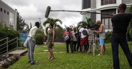 Tournage d'un film à Lagos, le 24 septembre 2015. Crédit photo: FLORIAN PLAUCHEUR / AFP