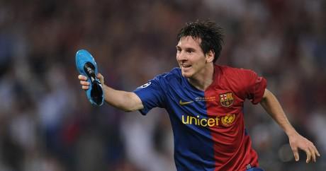 Lionel célèbre un but le 27 mai 2009 en finale de la Ligue des champions contre Manchester. Crédit photo: CHRISTOPHE SIMON/AFP