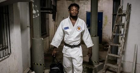 Popole Misenga, judoka de République démocratique du Congo et réfugié au Brésil. YASUYOSHI CHIBA / AFP