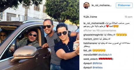 Capture d'écran d'un selfie avec Mohammed VI sur Instagram. DR