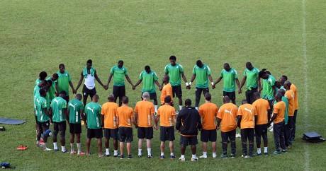 L'équipe nationale de Côte d'Ivoire à l'entraînement, le 3 septembre 2015 à Abidjan. SIA KAMBOU / AFP