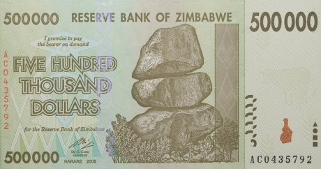 Un billet zimbabwéen de 500.000 dollars. Crédit photo: James Malone via Flickr. CC BY-NC
