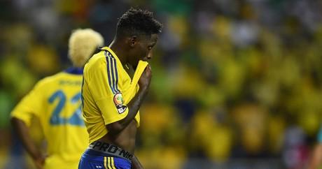 Le joueur gabonais Andre Bigoyo Poko après l'élimination du Gabon face au Cameroun le 22 janvier 2017. GABRIEL BOUYS / AFP