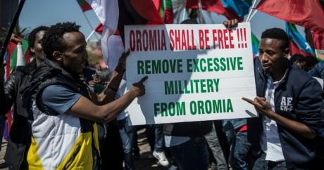 Manifestation des Oromos contre la répression du pouvoir éthiopien. Johannesburg. 18 août 2016. Gulshan Khan/ AFP