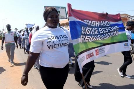 Une manifestation à Serekunda en Gambie, le 10 avril 2017. AFP/Seyllou