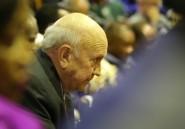 """Afrique du Sud: mea culpa de l'ex-président de Klerk après avoir """"nié"""" la gravité de l'apartheid"""