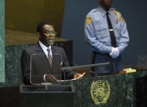 Le président équato-guinéen Teodoro Obiang à la tribune de l'assemblée générale de l'ONU le 23 septembre 2009 AFP/Archives Emmanuel Dunand