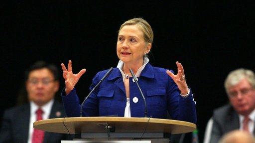 La secrétaire d'Etat américaine Hillary Clinton le 1er juillet 2011 à à Vilnius AFP Petras Malukas
