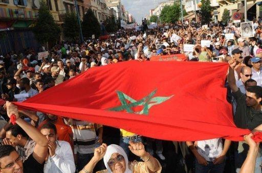 Des milliers de manifestants défilent le 3 juillet 2011 à Casablanca AFP Abdelhak Senna