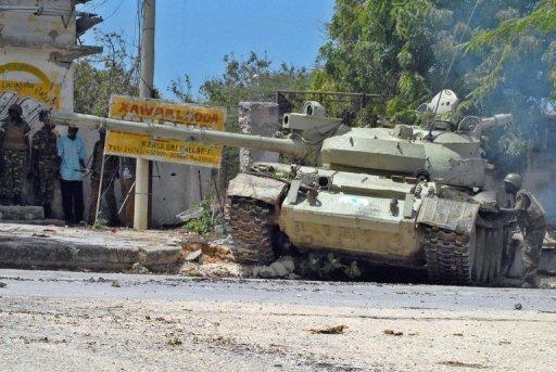 Un char de l'Union africaine à Mogadiscio, le 27 mai 2011 AFP/Archives Mustafa Abdi