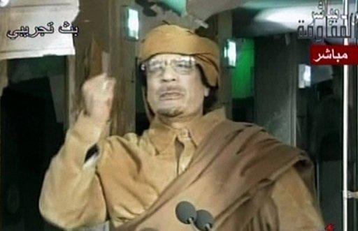 Image diffusée le 1er septembre 2011 sur la télévision Arrai montrant le colonel Mouammar Kadhafi Arrai television/AFP/Archives