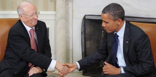 Barack Obama et le Premier ministre tunisien Béji Caïd Essebsi à la Maison blanche, à Washington, le 7 octobre 2011 AFP Mandel Ngan