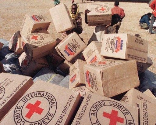 Des cartons d'aide alimentaire du CICR dans le sud de la Somalie AFP/Archives Alexander Joe