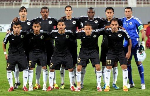 L'équipe de football de Libye le 16 janvier 2012 à Abou Dhabi lors d'un match amical contre la Cote d'Ivoire avant la CAN-2012 AFP/Archives Karim Sahib
