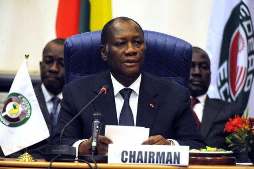 Le chef de l'Etat ivorien Alassane Ouattar élu à la tête de la Communauté économique des Etats d'Afrique de l'Ouest (Cédéao) le 17 février 2012 à Abuja AFP Pius Utomi Ekpei