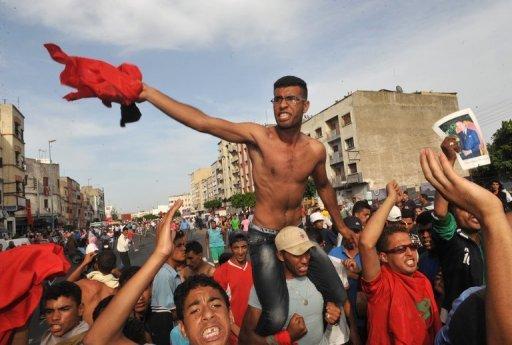 Manifestants du mouvement de contestation du 20 février, réunis à Casablanca au Maroc, le 19 juin 2011. AFP/Archives Abdelhak Senna