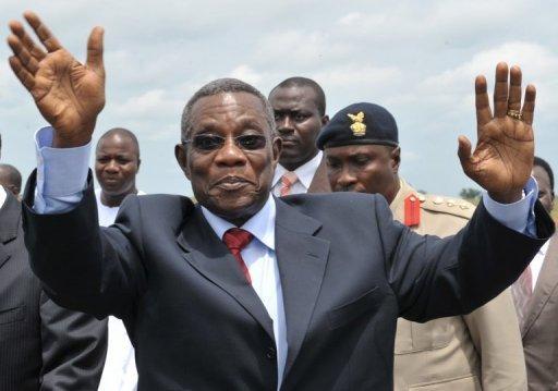 Le président ghanéen John Atta Mills le 7 avril 2009 à Yamoussoukro, en Côte d'Ivoire AFP/Archives Issouf Sanogo
