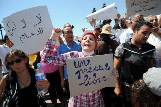 Manifestation de journalistes tunisiens contre les atteintes à la liberté de la presse, le 22 août 2012 à Tunis AFP/Archives Fethi Belaid