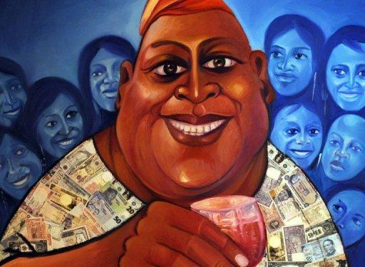 Une peinture de Wande George décrivant les styles de vie des Nigérians aisés, lors d'une exposition à Lagos, le 27 août 2012 AFP/Archives Pius Utomi Ekpei