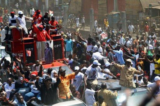 Les opposants au président de la République Alpha Condé sont descendus dans la rue le 18 février 2013, à Conakry AFP Cellou Binani