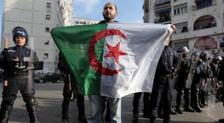 Un manifestant porte un drapeau algérien, à Alger, le 12 février 2011. REUTERS/Zohra Bensemra