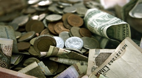 International Money Pile in Cash and Coins, by epSos.de via Flickr CC
