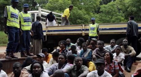46 activistes arrêtés pour l'organisation présumée de manifestations contre Mugabe, le 23 fév 2011. REUTERS/Philimon Bulawayo