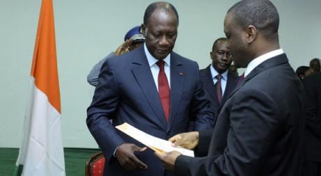 Alassane Ouattara nommant Guillaume Soro Premier ministre, le 4 décembre 2010. Reuters/Thierry Gouegnon