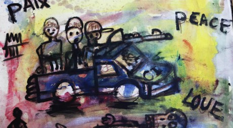 Tableau de l'artiste Aboudia, à Abidjan le 19 avril. REUTERS/Finbarr O'Reilly