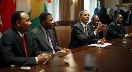 Obama reçoit Issoufou, Yayi, Condé et Ouattara à la Maison-Blanche, le 29 juillet 2011. REUTERS/Jason Reed