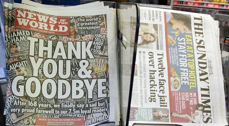 La dernière une du journal News of the World, le 10 juillet 2011, à Londres. REUTERS/Luke MacGregor