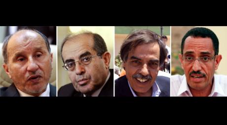 Les dirigeants du CNT: Mustafa Abdel Jalil, Mahmoud Jibril, Ali Tarhouni, Abdel Hafiz Ghoga. REUTERS/Reuters Staff
