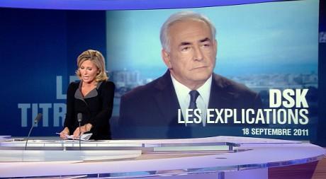 L'interview de Dominique Strauss-Kahn durant le journal télévisé de Claire Chazal sur TF1 le 18 septembre 2011. REUTERS/Ho New