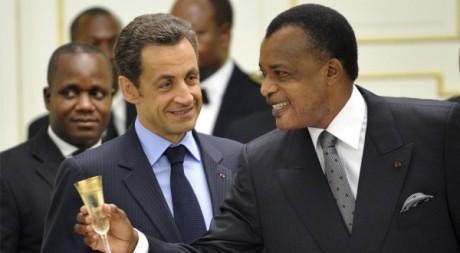 Denis Sassou Nguesso et Nicolas Sarkozy, le 26 mars 2009. REUTERS/POOL New