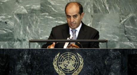 Mahmoud Djibril, président du CNT, à l'Assemblée générale des Nations unies, le 24 septembre 2011. REUTERS/Chip East