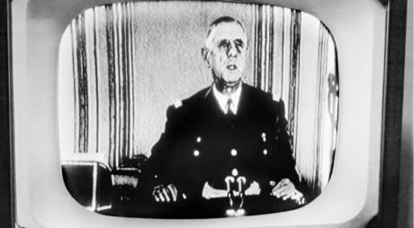 De Gaulle lors d'une allocution télévisée le 29 janvier 1960. AFP/ UPI