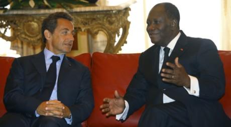 Alassane Ouattara et Nicolas Sarkozy, le 21 mai 2011 à Yamoussoukro. REUTERS