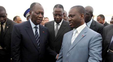 Alassane Ouattara et Guillaume Soro, le 22 octobre 2011. REUTERS/Thierry Gouegnon