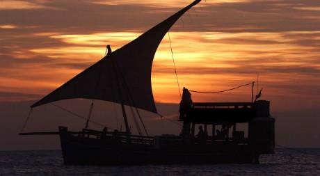 Un bateau de touristes navigue dans le port de Stone Town à Zanzibar - SIMON MAINA/AFP