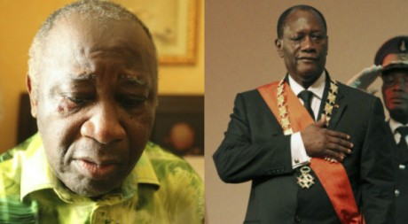 (A gauche) Arrestation de Gbagbo à Abidjan, 11 avril, REUTERS/Stringer. Investiture de Ouattara, 21 avril, REUTERS/Luc Gnago.