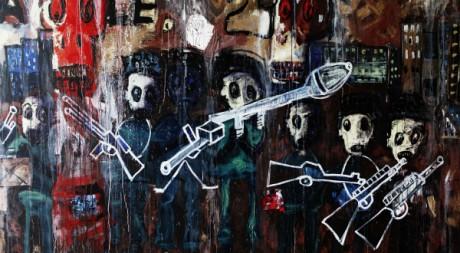 L'artiste ivoirien Aboudia s'est inspiré de la crise en Côte d'Ivoire dans son oeuvre. REUTERS/Finbarr O'reilly