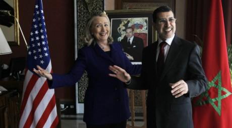 La Secrétaire d'Etat américaine Hillary Clinton et le ministre Saad Eddine Othmani à Rabat le 26 février 2012. AFP/JASON REED