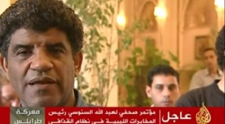 Abdallah al-Senoussi. Capture d'écran al-Jazeera. Vidéo mise en ligne le 21 août 2011